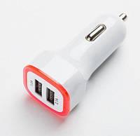 Адаптер питания для автомобиля с двумя портами USB и красной подсветкой
