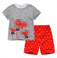 Стильный детский комплект в белым с красним цветах , Final Sale -40%, размеры: 2T,4T,5T,6T,7T