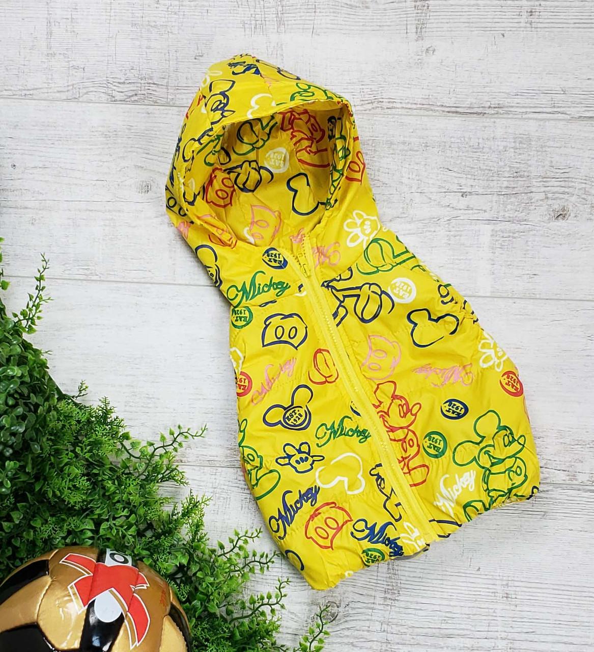 Жилетка код 102 для мальчика,размер 92-110 (2.5-5 лет), цвет - желтый микки, фото 1