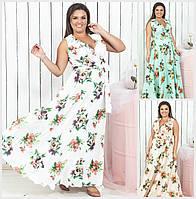 Довге квіткове плаття на запах Батал до 54 р 18564-1, фото 1