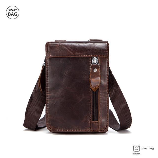Мужская кожаная мини сумочка Marrant | коричневая вид спереди