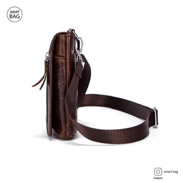 Мужская кожаная мини сумочка Marrant | коричневая вид сбоку