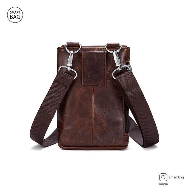 Мужская кожаная мини сумочка Marrant | коричневая вид сзади