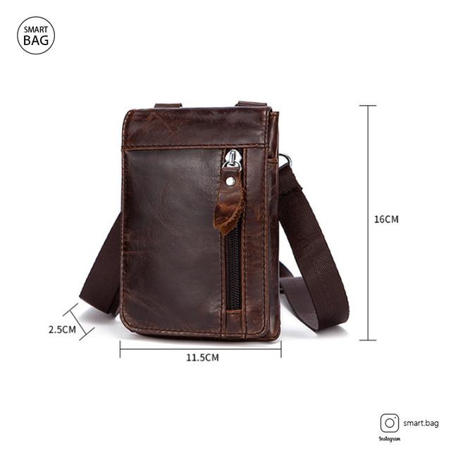 Мужская кожаная мини сумочка Marrant | коричневая размеры