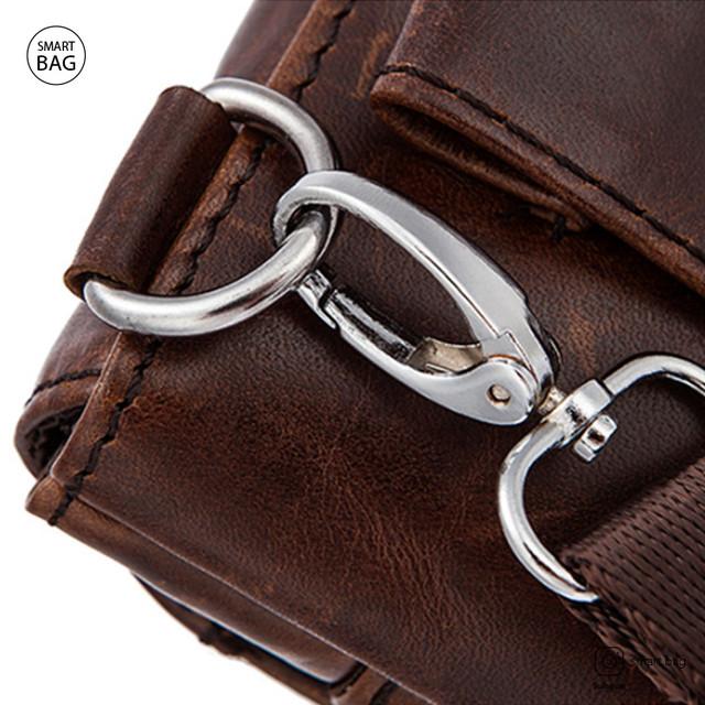 Мужская кожаная мини сумочка Marrant | коричневая металлические карабины