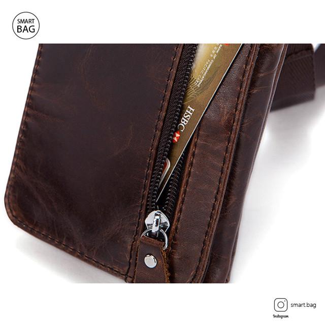 Мужская кожаная мини сумочка Marrant | коричневая дополнительный карман на клапане сумки
