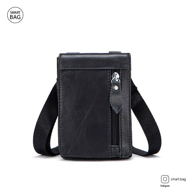 Мужская кожаная мини сумочка Marrant | черная вид спереди