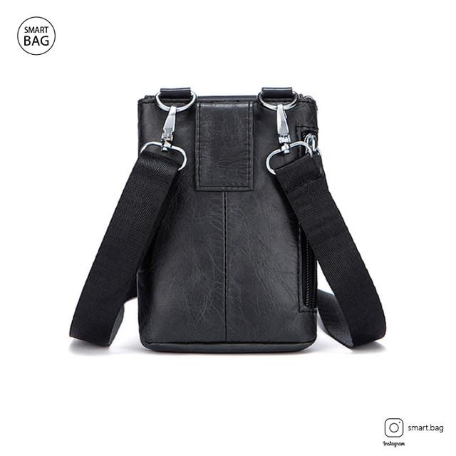 Мужская кожаная мини сумочка Marrant | черная вид сзади
