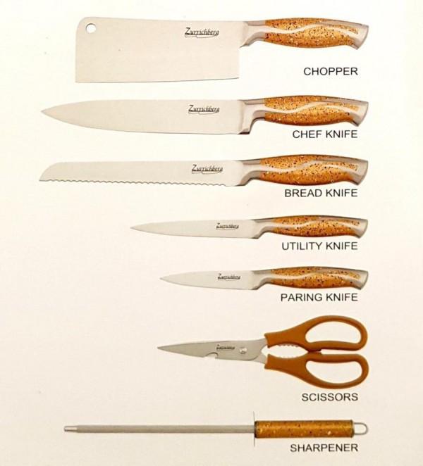 На подставке набор ножей Zurrichberg ZB 5003G кухонные ножи золотистая ручка