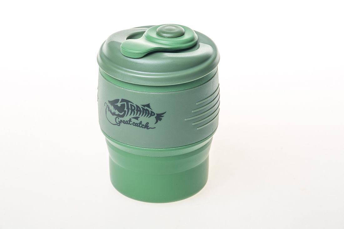 Складная кружка силиконовая с крышкой 350мл Tramp TRC-082 Green