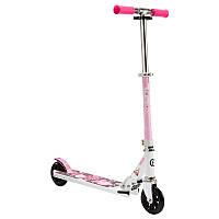 Детский складной 2-х колесный бело розовый самокат MID 1