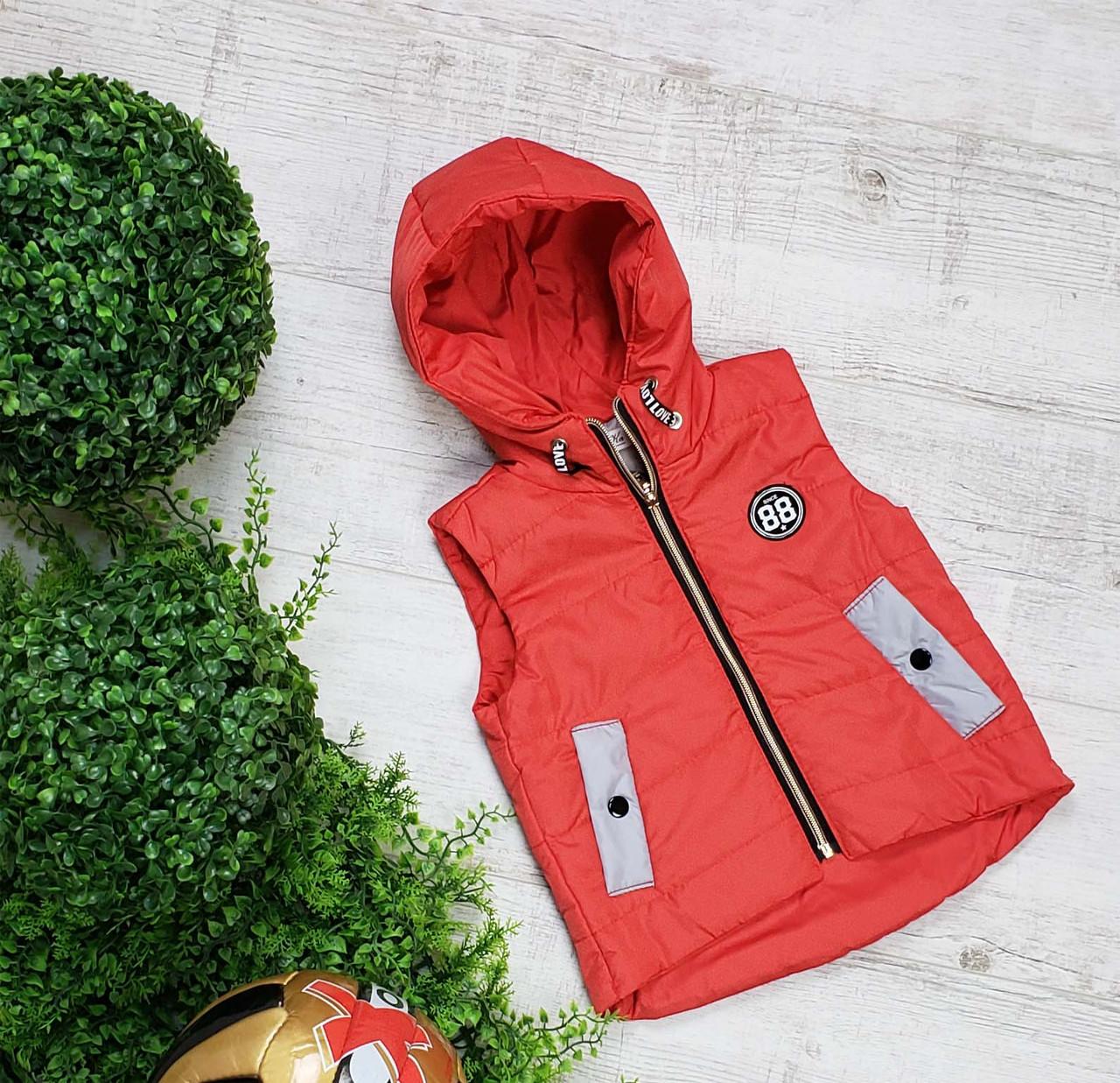 Жилетка код 692М для мальчика, размер 80-98 (1,5-3 лет), цвет - красный, фото 1