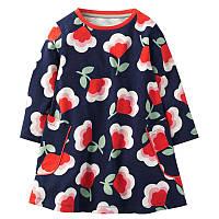 Детское темно-синее платье с цветами , Распродажа! Скидка -30% : 4T,7T