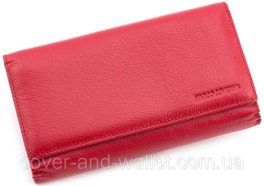 56bb42f63593 Красный большой кошелёк с отделом для визиток из натуральной кожи Marco  Coverna - cover and wallet