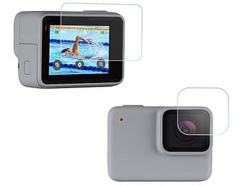 Защитное стекло на экран и линзу объектива для GoPro Hero7 White, Hero7 Silver