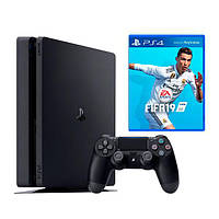 Ігрова приставка Sony PlayStation 4 Slim 500 Gb Black + FIFA 19 (Sony PS4 Slim 500Gb + FIFA 19)