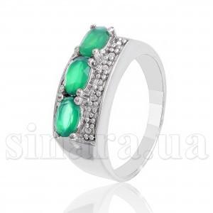 Серебряное кольцо с зеленым агатом 10311
