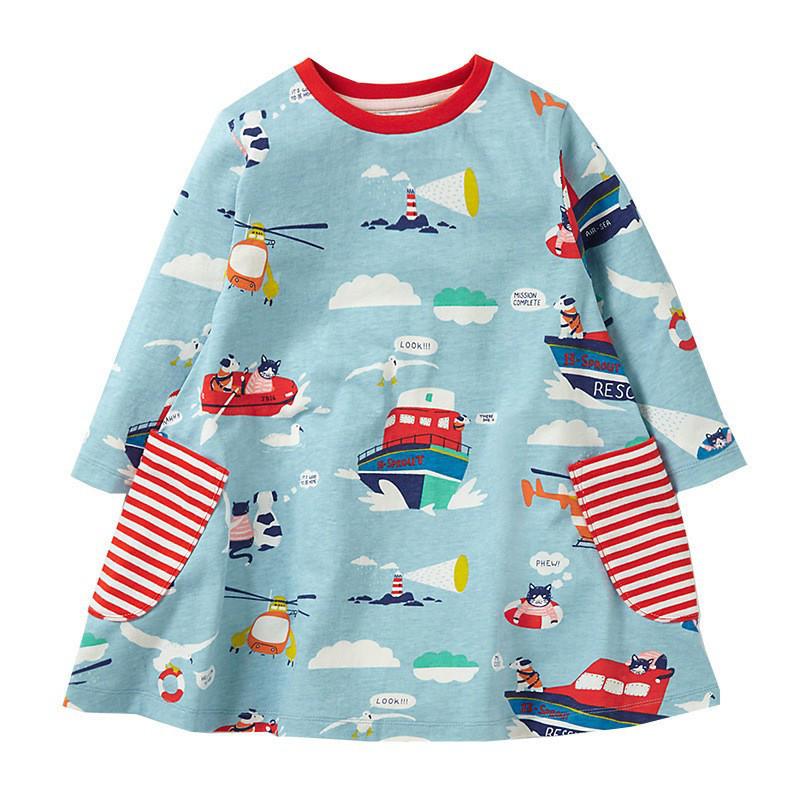 Платье с рисунками на тематику морских спасателей: 2T,3T,4T,5T,6T,7T