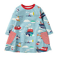 Платье с рисунками на тематику морских спасателей , Распродажа! Скидка -30% : 2T,3T,4T,5T,6T,7T