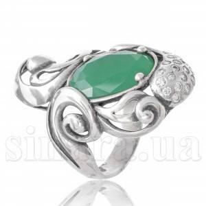 Серебряное кольцо с зеленым агатом 29198