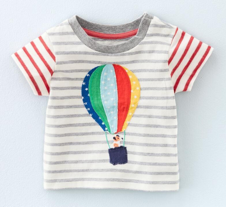 Детская футболка в полоску с воздушным шаром: 18M,2T,5T