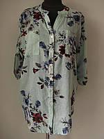 Блуза рубашечного кроя в цветочный принт из льна. ботал  (р-р.50,52,54)  Код 5186М