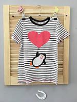 """Детская футболка в полоску """"Пингвин с сердечком"""" , распродажа склада: 18M,4T,5T,6T"""