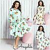 Цветочное платье миди Батал до 52 р 18566-1