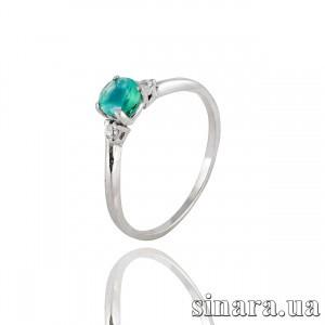 Серебряное кольцо с зеленым агатом 30846
