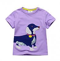 Красивая детская футболка фиолетового цвета с собачкой , распродажа склада: 5T,6T,8T