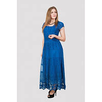 Длинное летнее платье в насыщенном синем цвете, платья Индия опт и розница