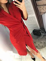 """Стильное деловое облегающее платье миди с запахом и рукавом 3/4 """"Alexa"""" красное"""