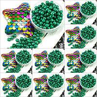 (500 грамм) ОПТ Жемчуг Жемчуг бусины пластик Ø4мм (прим. 14000 шт) Цвет - Зелёный
