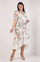 Цветочное летнее женское платье больших размеров