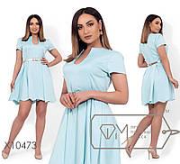 Платье женскоеиз атласа жатка с золотым поясом в комплекте (4 цвета) - Ментоловый VV/-1274