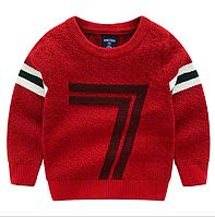 Теплый качественный свитер на осень для мальчиков красного цвета, арт. - 39833 , Суперпредложение -22% : 100см,110см,120см,130см,140см