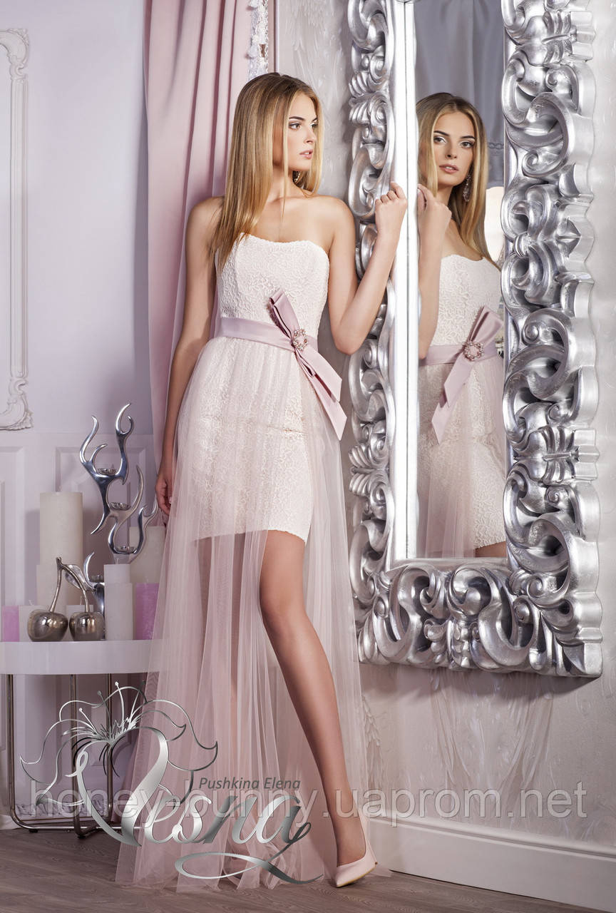 Прокат 3240 грн.  Короткое свадебное платье с поясом «Весенняя капель»