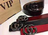 Ремни в стиле Gucci, кожаные женские ремни Гуччи, турецкая кожа чорная матовая бляха 3.5 см, Красный