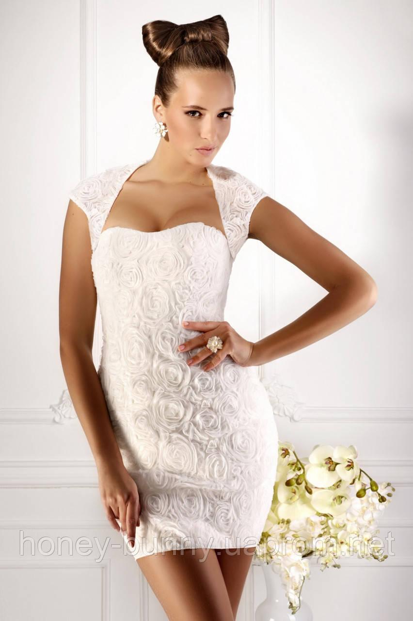 Прокат 2160 грн.  Короткое свадебное платье (без болеро) «Город цветов»