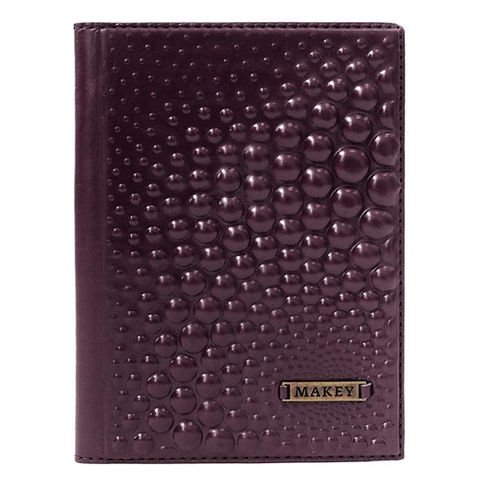 """Обкладинка на паспорт жіноча шкіряна з геомертичним тисненням """"Bubbles"""". Колір баклажан"""