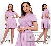 Платье женскоеиз атласа жатка с золотым поясом в комплекте (4 цвета) - Лиловый VV/-1274