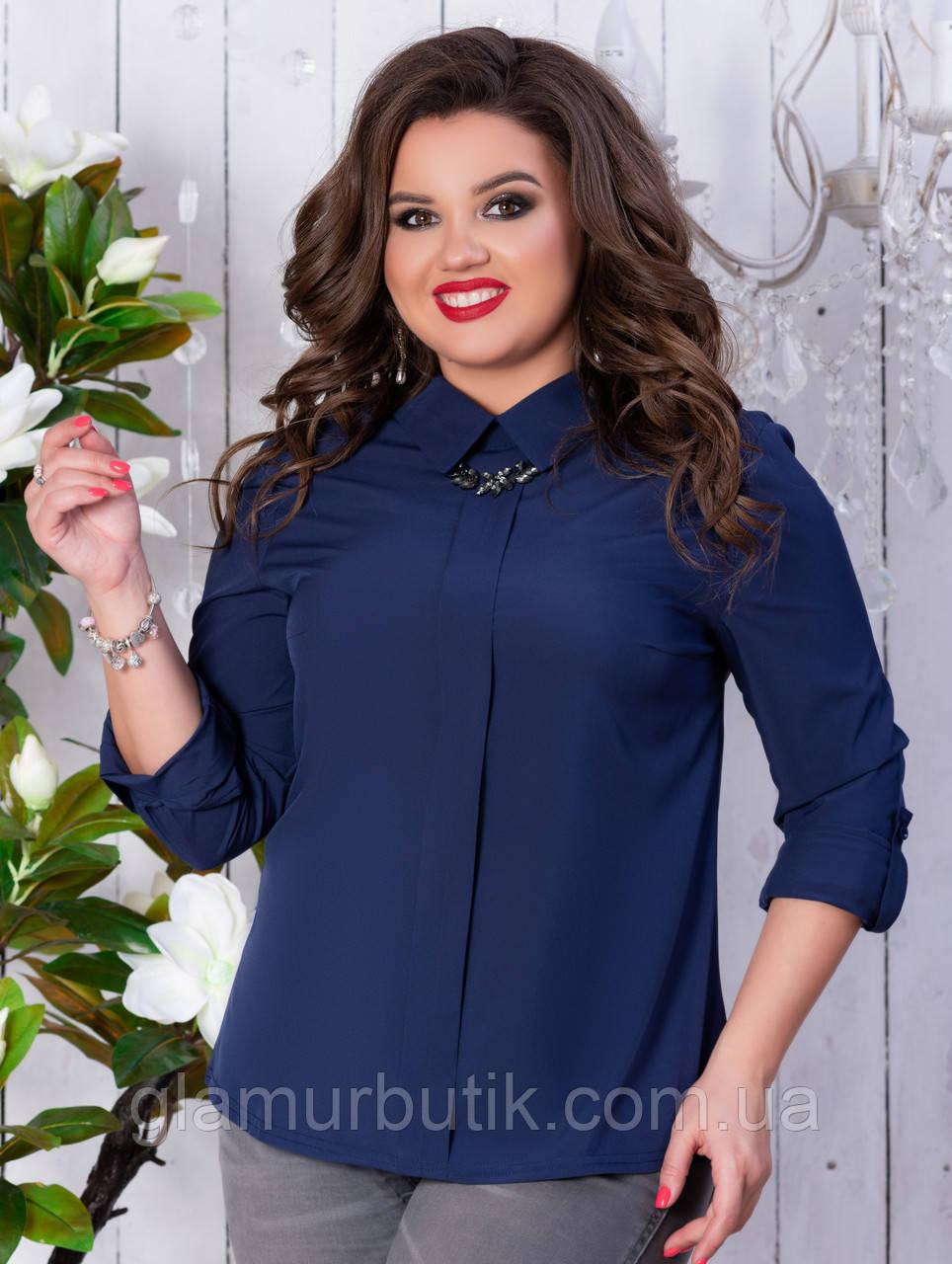 61cd92d5c6d Красивая женская блузка с украшением синяя батал 50 52 54 56 ...