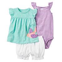 Летний комплект для девочки (боди, платье, шорты) , Распродажа! Скидка -30% : 12M,6M,9M