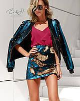 Женская юбка блестящая с пайетками - синий