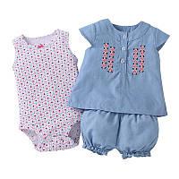 Летний комплект для девочки (боди, платье, шорты) , Mega Sale -25% off, размеры : 12M,18M