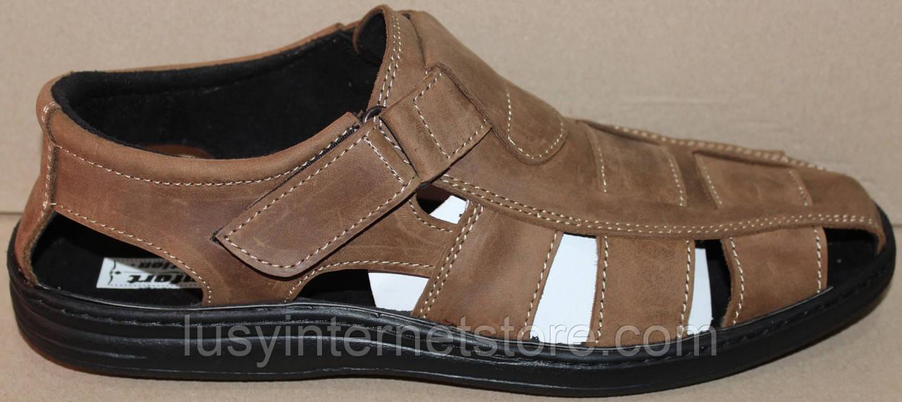 f31715f95b9e Мужские сандалии кожаные на липучке от производителя модель АМТ04Л-1 - Lusy  в Харькове