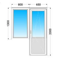 Балконный блок ПВХ KONING (5 кам) с 2-камерным энергосб. пакетом 1300х800+200х650мм