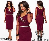 Изящное стрейчевое платье с вышивкой на груди с 48 по 62 размер, фото 1
