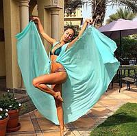 Пляжный шифоновый халат на купальник  мятого  цвета