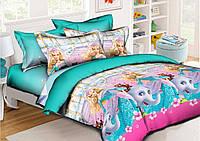 Детский комплект постельного белья полуторный Барби, ранфорс 100% хлопок. (арт.11602)